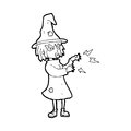 Cartoon witch casting spell black and white line in retro style vector available Stock Images