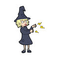 Cartoon witch casting spell hand drawn illustration in retro style vector available Stock Photos