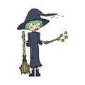 Cartoon witch casting spell hand drawn illustration in retro style vector available Royalty Free Stock Photography