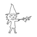 Cartoon witch girl casting spell black and white line in retro style vector available Stock Photo