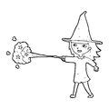 Cartoon witch girl casting spell black and white line in retro style vector available Royalty Free Stock Photo