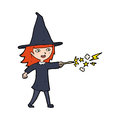 Cartoon witch girl casting spell hand drawn illustration in retro style vector available Royalty Free Stock Photos