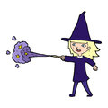 Cartoon witch girl casting spell hand drawn illustration in retro style vector available Royalty Free Stock Images