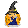 Cartoon witch holding wand. halloween costume draw Stock Photography