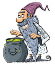 Cartoon Wizard with boiling cauldron. Royalty Free Stock Photo
