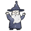 Cartoon wizard casting spell Royalty Free Stock Photo