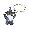 Cartoon wizard casting spell retro with texture isolated on white Royalty Free Stock Photos