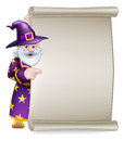 Cartoon Wizard Halloween Scroll Sign Royalty Free Stock Photo