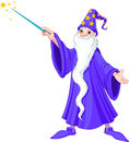 Cartoon wizard illustration of casting spell Royalty Free Stock Photo