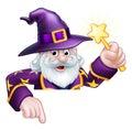 Cartoon Wizard Pointing Royalty Free Stock Photo