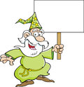 Cartoon wizard with a sign illustration of holding Royalty Free Stock Images