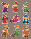 Cartoon Wizard and Witch stickers Royalty Free Stock Photo