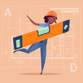 Cartoon Woman Builder Holding Carpenter Level Wearing Uniform And Helmet African American Construction Worker Over Royalty Free Stock Photo