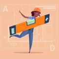 Cartoon Woman Builder Holding Carpenter Level Wearing Uniform And Helmet African American Construction Worker Over