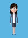 Cartoon woman business gray suit employee