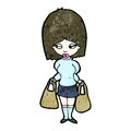 Cartoon woman carrying shopping bags Stock Photography