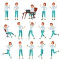 Cartoon woman in casual outfit. Young female character actions poses, walking happy woman and women lifestyle vector