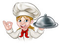 Cartoon Woman Chef Holding Plate or Platter