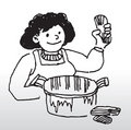 Cartoon woman cooking food Royalty Free Stock Photo