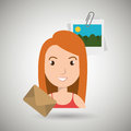 cartoon woman email images Royalty Free Stock Photo