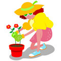 Cartoon woman gardening Stock Photos