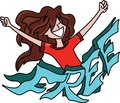 Cartoon woman with long hair standing behind a free text with her arms wide open, feeling happy, vector