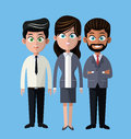 Cartoon woman and men business company team