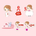 Cartoon woman preventing AIDS