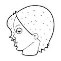 Cartoon woman raising eyebrow black and white line in retro style vector available Stock Image
