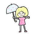 Cartoon woman with umbrella Royalty Free Stock Image