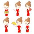 Cartoon woman wear qipao in chinese new year Stock Image