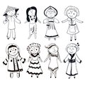 Cartoon women in different traditional costumes black white vector set Stock Image