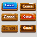 Cartoon wood buttons CANCEL for game