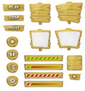 Cartoon wood elements for ui game illustration of a set of various design wooden including banners signs buttons load bar and app Stock Photo