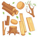 Cartoon wooden materials, lumber, firewood, wood stump vector set Royalty Free Stock Photo