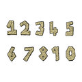 Cartoon wooden numbers hand drawn illustration in retro style vector available Royalty Free Stock Photos