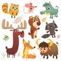 Cartoon woodland animals set. Vector illustrated. Squirrel mouse raccoon boar fox, buffalo bear moose bird