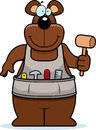 Cartoon woodworking bear a with a mallet Stock Photography