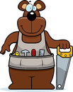 Cartoon woodworking bear a with a saw Royalty Free Stock Photos