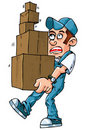 Cartoon of worker carrying boxes Stock Photography
