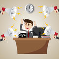Cartoon working businessman with noisy megaphone illustration of Stock Photo