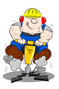 Cartoon Workman Drilling the Road Royalty Free Stock Photo