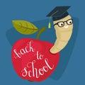 Cartoon worm in alumni hat and glasses peeking from a read apple
