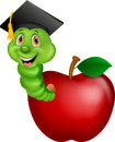 Cartoon Worm wearing a graduation cap crawling out of an apple Royalty Free Stock Photo