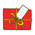Cartoon wrapped present hand drawn illustration in retro style vector available Stock Photos