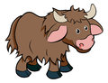 Cartoon yak animal character an illustration of a cute happy hairy Royalty Free Stock Photo