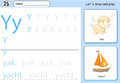 Cartoon yak and yacht. Alphabet tracing worksheet