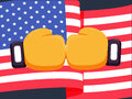 Cartoon yellow boxing glove icon, front.Vector illustration of fight of USA. Royalty Free Stock Photo