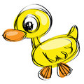 Cartoon yellow duck in a naif drawing style Royalty Free Stock Images
