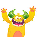 Cartoon yellow furry monster. Halloween vector illustration of excited monster.